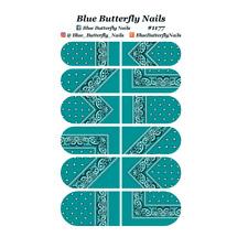 1177 - Turquoise Paisley Bandana Bandanna Nail Water Decals