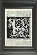ORIGINAL - Letter P Alphabet Vintage Dictionary Art Print Personalised Gift 537D