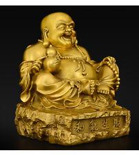 "10"",Buddhist China Laughing Fat Buddha Maitreya,BRASS Statue,Wealth Bronze craft"