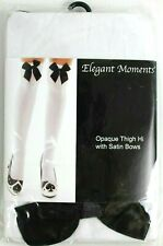 Elegant Moments Women's One Size Fits White Thigh High Stockings with Satin Bow