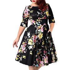 Plus Size Womens Vintage Half Sleeve Floral Evening Party Swing Dress 3XL-9XL