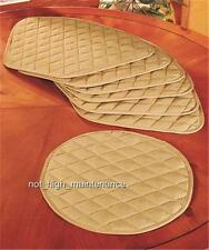 7-PIECE BEIGE ROUND DINING KITCHEN TABLE WEDGE-SHAPED QUILTED PLACE MAT SET
