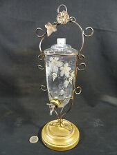 ancien service à liqueur verre émaillé 1900 support  fils laiton