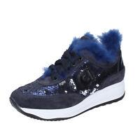 Chaussures Femme AGILE by RUCOLINE 39 Ue Baskets Bleu à Paillettes Daim BJ782-39
