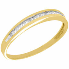 Baguette Diamond Wedding Band Ladies 10K Yellow Gold Engagement Ring 0.15 Ct.