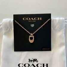 NWT GIFT Coach Pave Signature C Rose Gold Necklace F54517 $115