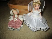 "Lot of 2 Delton 5"" Dolls, Prairie Type and Christening with 19th Century Cradle"
