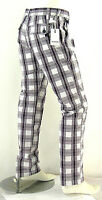 Pantaloni Uomo ENERGIE B778 Gamba Dritta Scacchi su Fondo Bianco Tg 33