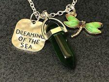 "Beach Dream of Sea Green Dragonfly & Hex Charm Tibetan Silver 18"" Necklace D139"