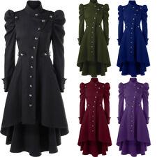 5XL Women Steampunk Long Trench Coat Puff Shoulder Button Up Dip Hem Trench Coat