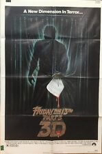 """FRIDAY THE 13TH PART 3 - Original 1982 Horror Movie Poster 27""""x41"""" One Sheet"""
