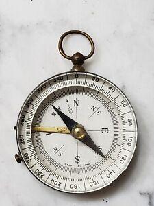 Vintage Brass Glass Compass w/ Direction Locking Mechanism Made Japan