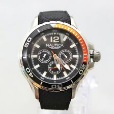NEW Nautica N17612G Black Orange Accent Dial Chronograph Black Band Men Watch