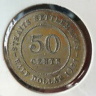 Old Collection>Straits S. KGV 50cents1921 Silver coin high grade! lustre??scare!