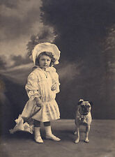 PUG AND LITTLE GIRL WITH PARASOL CHARMING IMAGE DOG GREETINGS NOTE CARD