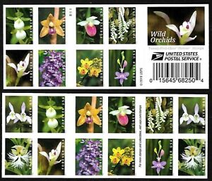 WILD ORCHIDS SCOTT #5445-5454 US NATURE 20 VF FOREVER STAMP 2-SIDED BOOKLET PANE