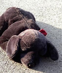 "Russ Ginger Large Plush Dog Stuffed animal, 32"" long, Red Ribbon, Flawless"
