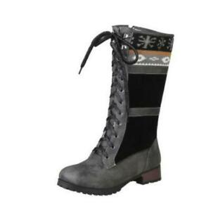Women Snow Boots Lace Up Fur Lined Winter Warm Zip Casual Mid Calf Boots Shoes