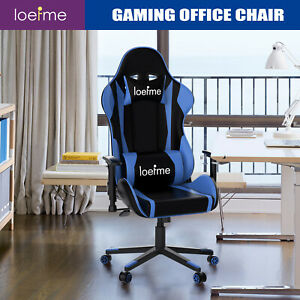 LOEFME Office Executive Racing Gaming Chairs Swivel Leather Computer Desk Chair