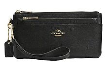 Coach 52334 Zippy Wallet with Pop-up Pouch in Black Embossed Textured Leather