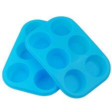 Bollo de Silicona grande de 2x/6 Taza del mollete Bandeja Antiadherente Estaño Hornear pudding mold Azul