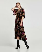 ZARA AW17 Devore Velvet Wrap Midi Floral Dress Black Purple SIZE M BNWT