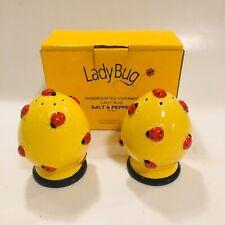 Dept 56 Lady Bug Salt & Pepper Shakers Ceramic Summer Picnic