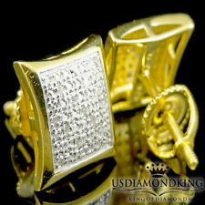 10mm Men's Women's .25ct Genuine Diamond Yellow Gold Finish Stud Earrings Square
