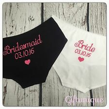 PERSONALISED Wedding Knickers Bride Bridesmaid Favours Date Heart Gift