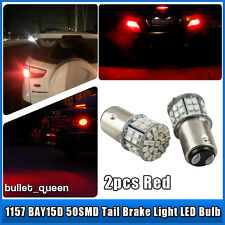 2x 1157 BAY15D 50-SMD Super Bright Red LED Car Tail Stop Brake Light Bulbs 12V