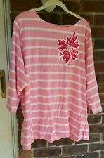 Bob Mackie pink striped 3/4 sleeved top /w/ embroidered flower 2X