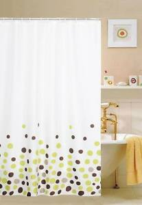 LUXURY FABRIC SHOWER CURTAIN, PRINTED CIRCLES BROWN