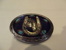 Vintage Horseshoe Horse Turqoise Buckle Belt Silver