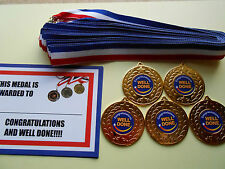 WELL DONE AND CONGRATULATIONS MEDALS 50  MM METAL /RIBBON / CERTIFICATE X 5
