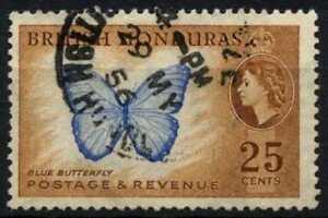 British Honduras 1953-62 SG#186, 25c Blue Butterfly Used #D71864