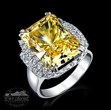 14 ct Radiant Canary Ring Top AAAAA CZ Imitation Moissanite Simulant SS Size 8