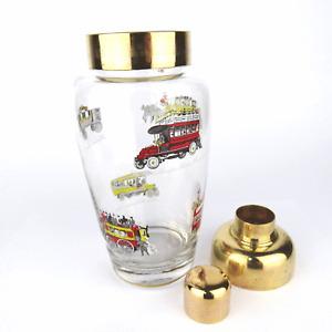 alter Cocktail Shaker 50er BUS OMNIBUS Glass Brass England Barware mid century