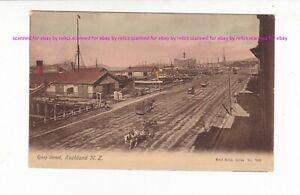 QUAY STREET, AUCKLAND Vintage postcard PU 1908 NEW ZEALAND