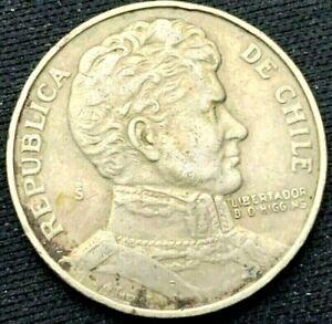 1976 Chile Un Peso Coin XF +       World Coin Copper Nickel      #K347