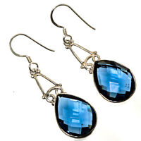 """FACETED BLUE TOPAZ GEMSTONE 925 STERLING SILVER HANDMADE JEWELRY EARING 1.87"""""""