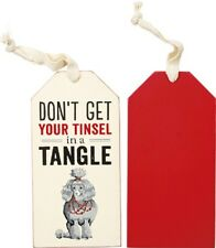 """Wood Wine Bottle Tag Tie On Sign~""""Don't Get Your Tinsel In A Tangle""""~Ornament"""