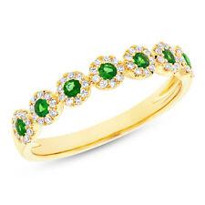 0.38TCW 14K Oro Amarillo Natural Tsavorite Granate Diamante Halo 7 Piedra Anillo