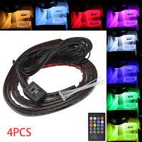 4PCS LED RGB Neon Strips Car interior lights Underglow Glows control Fairy Light