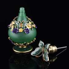 Green Diamond Cut Antique Vintage Perfume Bottle With Glass Metal for Women Gift