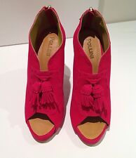 Pollini by Nicholas Kirkwood Pink Fuchsia Peep-Toe Suede Shoes, UK 6, EU 39