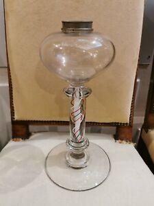 Très Rare Lampe à pétrole en verre soufflé de St Louis ? Baccarat ? XIXÉME