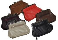 """Women's Leather Metal Frame Double Clasp Zipper Coin Purse 5 1/4"""" x 3 1/4"""""""