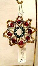 Blown Beaded Glass Green/Red/Gold Stick-Star Christmas Ornament Czech Republic