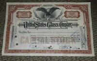 STOCK CERTIFICATE 2 Shares US UNITED STATES GLASS COMPANY CO Pennsylvania OLD!