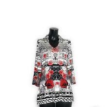 V Cristina Womens Small Embellished Floral Tunic Top